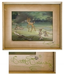 Walt Disney Signed Bambi Cel -- Featuring Bambi and Thumper, Along With Thumpers Four Bunnies