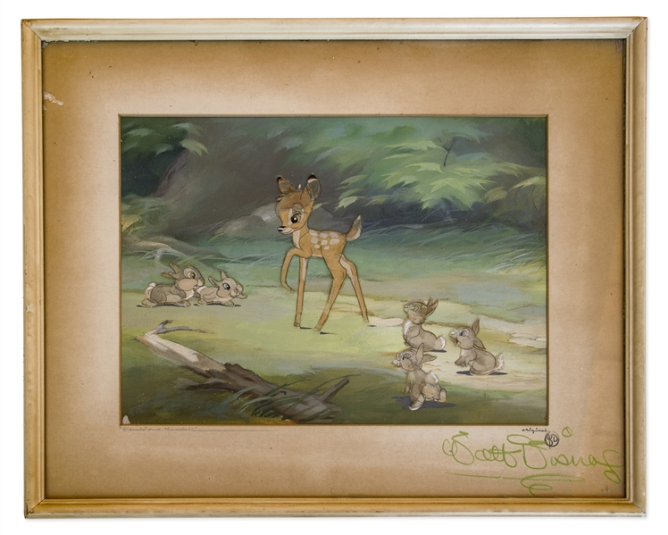 Walt Disney Signed ''Bambi'' Cel -- Featuring Bambi and Thumper, Along With Thumper's Four Bunnies