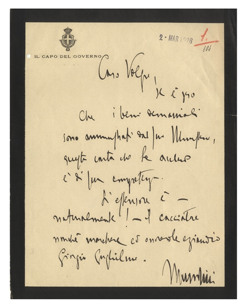 Benito Mussolini Autograph Letter Signed as Prime Minister and Duce of Fascism -- ''...The author is - naturally! - the hunter...''