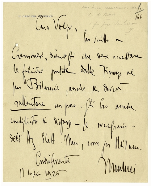 Benito Mussolini Autograph Letter Signed -- ''...I have also advised him to disentangle himself...''