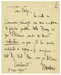 Benito Mussolini Autograph Letter Signed -- ...I have also advised him to disentangle himself...