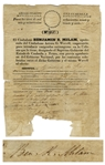 Incredibly Scarce Document Signed by Texas Revolutionary Benjamin R. Milam -- Official Citizenship Document for the Red River Colony, Founded by Milam & Arthur G. Wavell