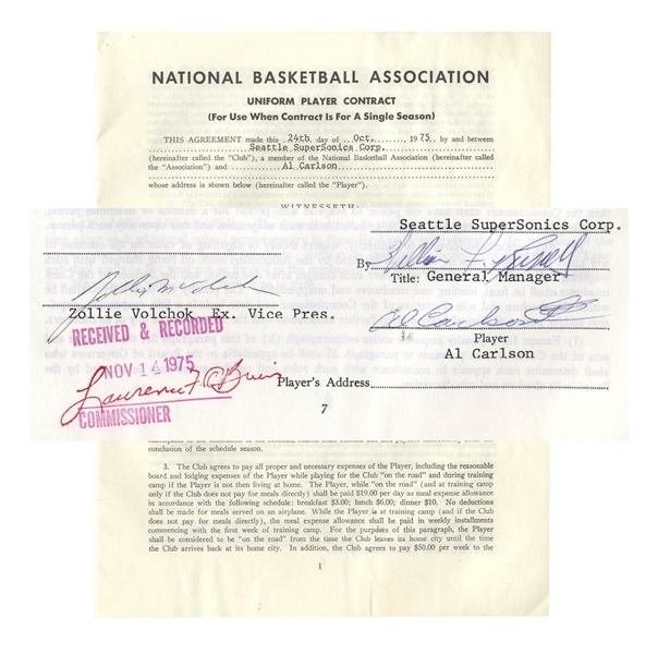 Bill Russell Contract Signed From 1975 as General Manager of the Seattle SuperSonics -- Russell Signs Player Al Carlson