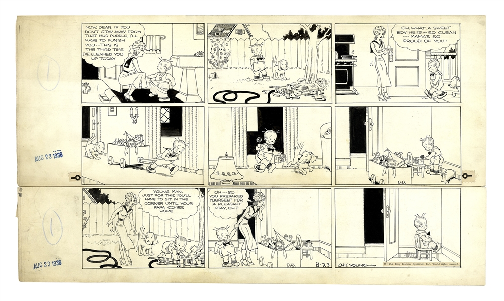 Chic Young Hand-Drawn ''Blondie'' Sunday Comic Strip From 1936 -- Baby Dumpling Cleverly Prepares to Disobey Blondie