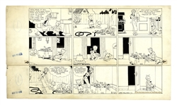 Chic Young Hand-Drawn Blondie Sunday Comic Strip From 1936 -- Baby Dumpling Cleverly Prepares to Disobey Blondie
