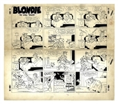 Chic Young Hand-Drawn Blondie Sunday Comic Strip From 1949 -- Dagwood Keeps Blondie Up All Night