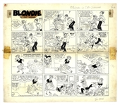 Chic Young Hand-Drawn Blondie Sunday Comic Strip From 1960 -- Dagwood & Blondie Respond Differently to an Unusual Door to Door Salesman