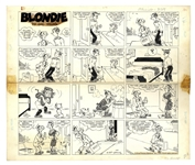 Chic Young Hand-Drawn Blondie Sunday Comic Strip From 1964 -- Dagwood Dresses Up as Blondie to Mollify a Salesman