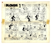 Chic Young Hand-Drawn Blondie Sunday Comic Strip From 1967 -- Blondie Thinks Everyone Forgot Her Birthday