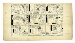 Chic Young Hand-Drawn Blondie Sunday Comic Strip From 1935 -- The Precocious Baby Dumpling Wanders Off