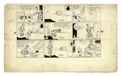 Chic Young Hand-Drawn Blondie Sunday Comic Strip From 1935 -- Dagwood Is Last in Line for a Bath