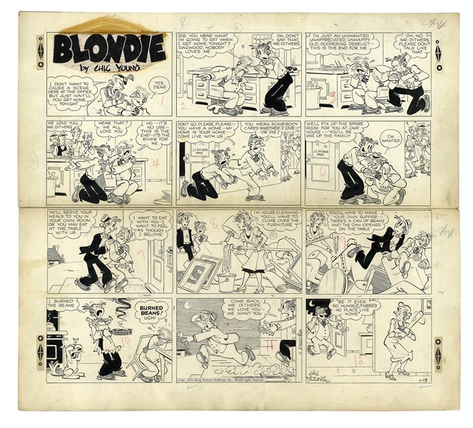Chic Young Hand-Drawn ''Blondie'' Sunday Comic Strip From 1952 -- Mr. Dithers Has Marital Problems