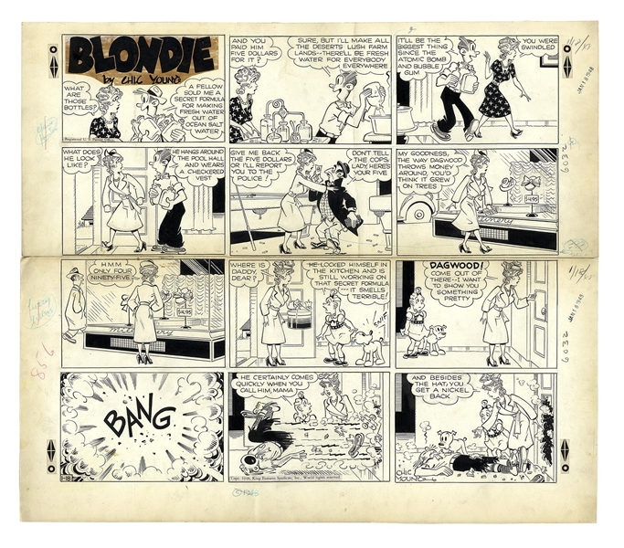 Chic Young Hand-Drawn ''Blondie'' Sunday Comic Strip From 1948 -- Dagwood Buys a Water Desalination Machine