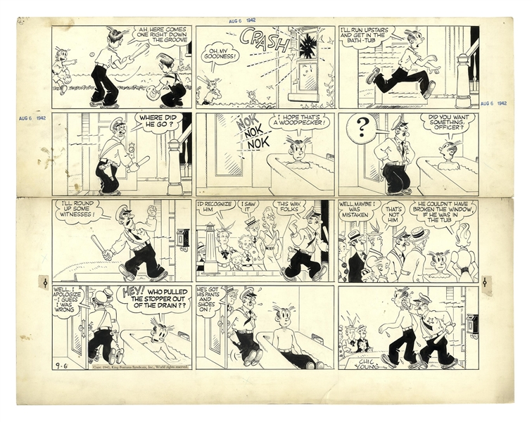 Chic Young Hand-Drawn ''Blondie'' Sunday Comic Strip From 1942 -- Dagwood Breaks a Window & Tries to Dodge the Police