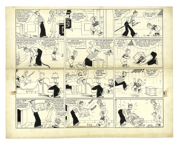 Chic Young Hand-Drawn ''Blondie'' Sunday Comic Strip From 1937 -- Dagwood Plots to Hunt a Pesky Chipmunk