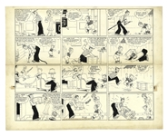Chic Young Hand-Drawn Blondie Sunday Comic Strip From 1937 -- Dagwood Plots to Hunt a Pesky Chipmunk
