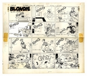 Chic Young Hand-Drawn Blondie Sunday Comic Strip From 1968 -- Calamity at the Bumstead Home