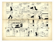 Chic Young Hand-Drawn Blondie Sunday Comic Strip From 1940 -- The Bumstead Clan Fight for a Comfortable Place to Sleep