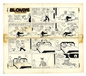 Chic Young Hand-Drawn Blondie Sunday Comic Strip From 1969 -- A Black Cat Crosses Dagwoods Path