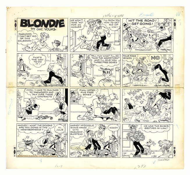 Chic Young Hand-Drawn ''Blondie'' Sunday Comic Strip From 1972 -- Dagwood Gets in a Fight With the Wrong Door to Door Salesman