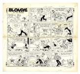 Chic Young Hand-Drawn Blondie Sunday Comic Strip From 1972 -- Dagwood Gets in a Fight With the Wrong Door to Door Salesman