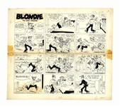 Chic Young Hand-Drawn Blondie Sunday Comic Strip From 1966 -- Dagwood Does Blondies Job for a Day