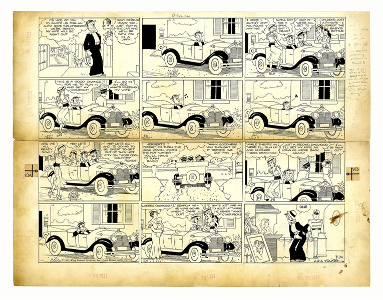 Chic Young Hand-Drawn ''Blondie'' Sunday Comic Strip From 1933 -- A Nice Automobile Ride in the Country Doesn't Go as Planned
