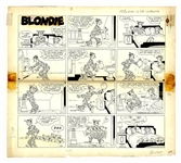 Chic Young Hand-Drawn Blondie Sunday Comic Strip From 1962 -- Dagwood Puts the Puppies to Good Use