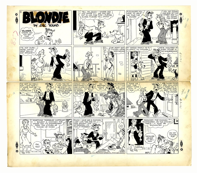 Chic Young Hand-Drawn ''Blondie'' Sunday Comic Strip From 1949 -- Dagwood & Alexander Try to Do the Right Thing