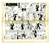 Chic Young Hand-Drawn Blondie Sunday Comic Strip From 1949 -- Dagwood & Alexander Try to Do the Right Thing