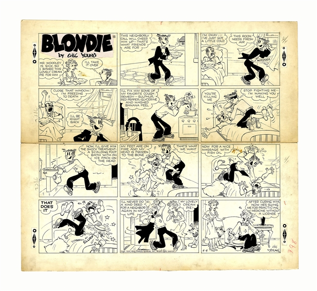 Chic Young Hand-Drawn ''Blondie'' Sunday Comic Strip From 1954 -- Dagwood Plays Doctor