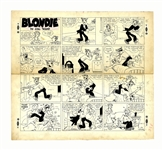 Chic Young Hand-Drawn Blondie Sunday Comic Strip From 1954 -- Dagwood Plays Doctor