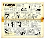 Chic Young Hand-Drawn Blondie Sunday Comic Strip From 1962 -- Despite Dagwoods Best Intentions, Mr. Dithers Thinks Hes Skipping Work
