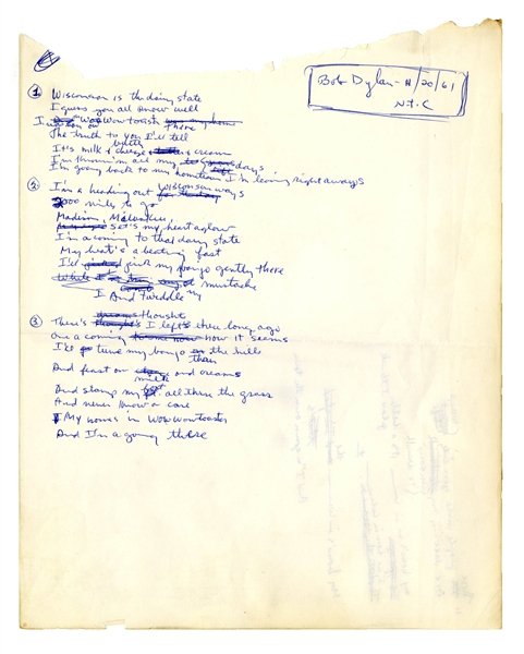 Bob Dylan Autograph Original, Signed Handwritten Lyrics by Bob Dylan From November 1961 -- Draft Song About Wisconsin, Where Dylan Spent Summers as a Youth -- With Roger Epperson COA