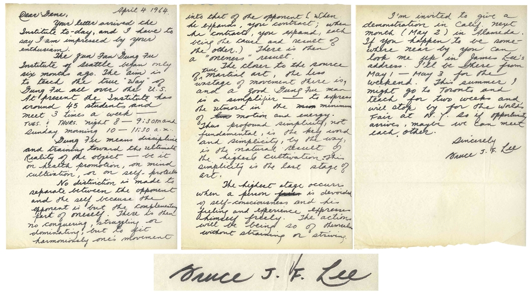 Fantastic Bruce Lee Autograph Letter Signed on Gung Fu Discipline, Harmonious Movements, Health, Mind, No Wasted Movements, Oneness, Self-Consciousness, Self Defense, Simplicity & Training