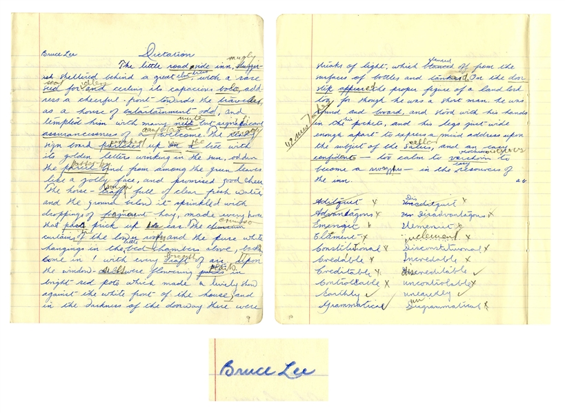 Bruce Lee Signed & Handwritten Essay From High School -- …the pure white hangings in the little bed chambers above beckons, Come in!… -- Among Earliest Examples of Lee's Writing