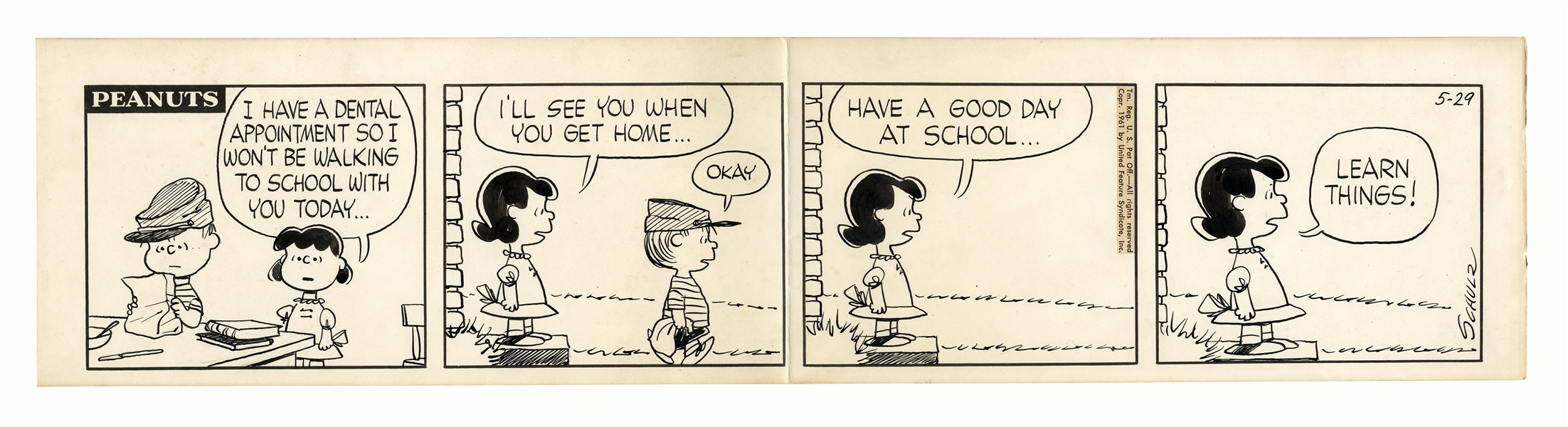 Charles Schulz Hand-Drawn Comic Strip From October 1961 -- Lucy Tells Her Brother Linus to ''LEARN THINGS!'' as He Leaves for School