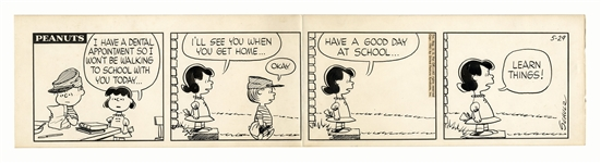 Charles Schulz Hand-Drawn Comic Strip From October 1961 -- Lucy Tells Her Brother Linus to LEARN THINGS! as He Leaves for School