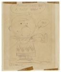 Charles Schulz Signed Drawing of Charlie Brown & Snoopy