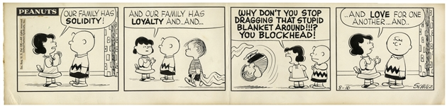 Early 1957 Peanuts Comic Strip Hand-Drawn by Charles Schulz -- Starring Charlie Brown, Lucy, Linus & Linus Blanket