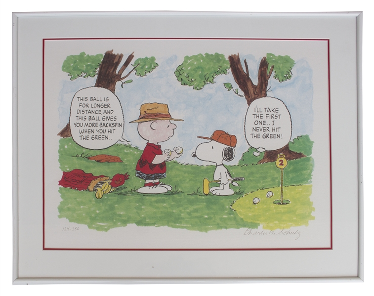 Charles Schulz ''Peanuts'' Limited Edition Lithograph -- Snoopy & Charlie Brown Play Golf