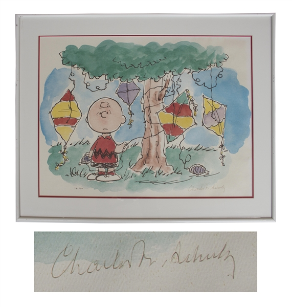 Charles Schulz ''Peanuts'' Limited Edition Lithograph -- Charlie Brown Gets His Kite Stuck in a Tree