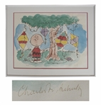 Charles Schulz Peanuts Limited Edition Lithograph -- Charlie Brown Gets His Kite Stuck in a Tree