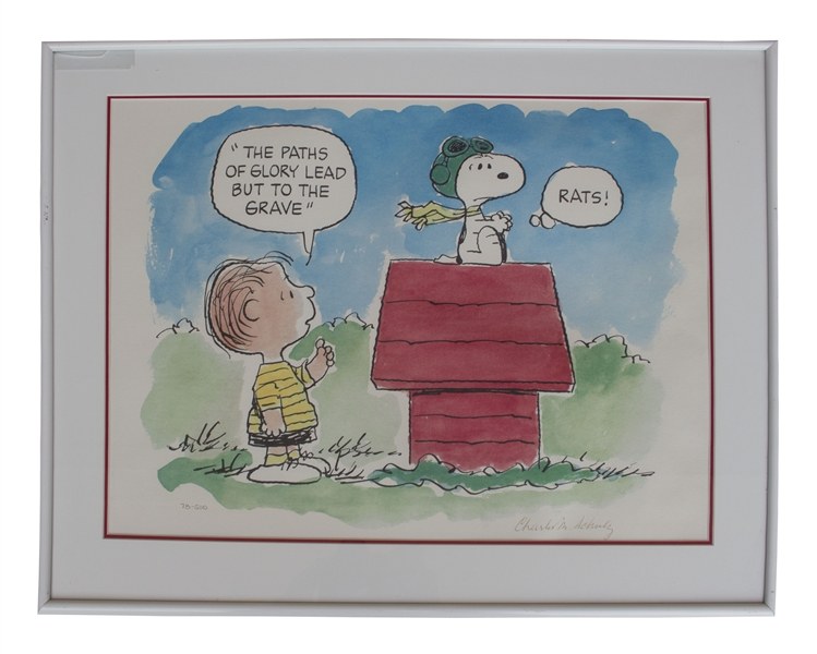 Charles Schulz ''Peanuts'' Signed Limited Edition Lithograph -- Snoopy Is the Flying Ace