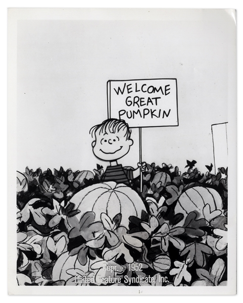 Charles Schulz Signed Photo -- Also With a Glossy Photo of Linus in the Pumpkin Patch & a CBS Document Promoting ''It's the Great Pumpkin, Charlie Brown''