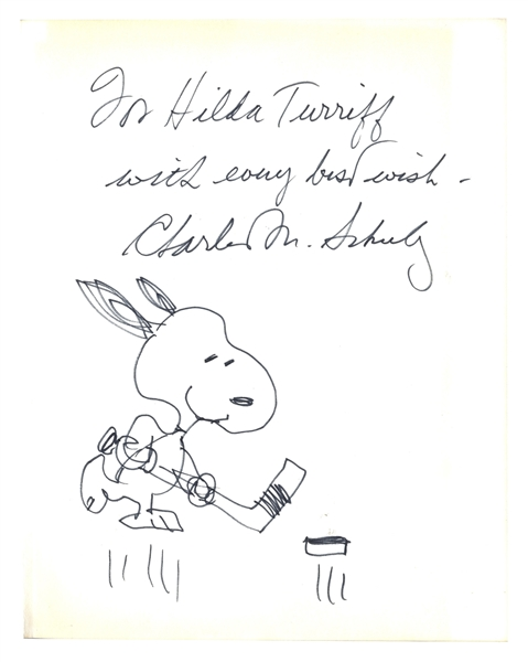 Charles Schulz Signed Drawing of Snoopy Playing Hockey