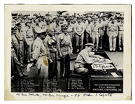 Admiral Chester Nimitz Signed Photo of the Japanese Surrender, Uninscribed -- Nimitz Also Identifies Three Forgotten Individuals in the Photo, Including General Joseph Stilwell