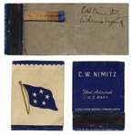 Fleet Admiral Chester Nimitz Signed Matchbook -- Matchbook Is Personalized With Nimitz Name and Rank