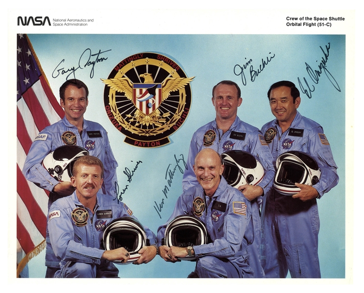 Crew-Signed Photo of the Space Shuttle 51-C with El Onizuka