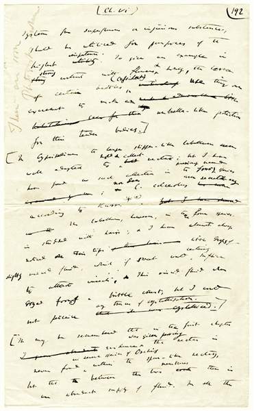 Charles Darwin Handwritten Draft Page From His Book ''Fertilisation of Orchids'' -- His First Book After ''Origin of Species'', Where He Proved Evolutionary Theory & Co-Evolution